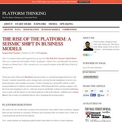 The Rise of the Platform: A seismic shift in business models