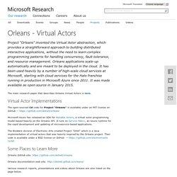 Orleans: a Platform for Cloud Computing