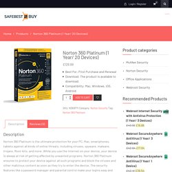 Norton 360 Platinum (1 Year/ 20 Devices) - SafeBest2Buy