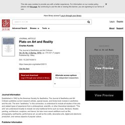 Plato on Art and Reality on JSTOR