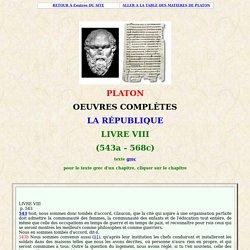 PLATON : la république - livre VIII, 557 sur la constitution démocratique