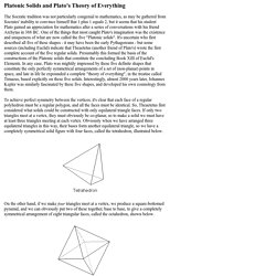 Platonic Solids and Plato's Theory of Everything