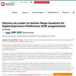 Sitecore als Leader im Gartner Magic Quadrant für Digital-Experience-Plattformen 2018 ausgezeichnet