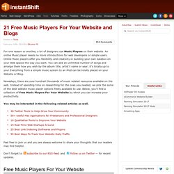 21 Free Music Players For Your Website and Blogs | Tools