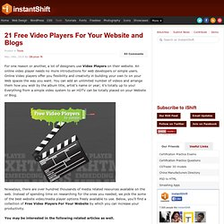 21 Free Video Players For Your Website and Blogs | Tools