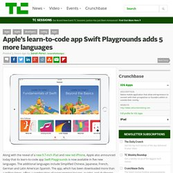 Apple's learn-to-code app Swift Playgrounds adds 5 more languages