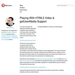 Playing With HTML5 Video & getUserMedia Support
