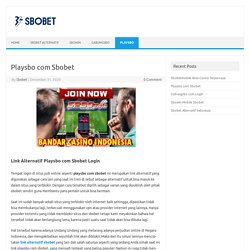Playsbo com Sbobet - Sbobet Alternatif