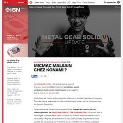 Metal Gear Solid V : The Phantom Pain PlayStation 4: Konami : des conditions de travail déplorables pour les employés ?