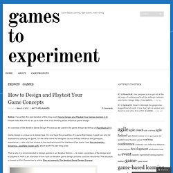 How to Design and Playtest Your Game Concepts « Game-Based Learning Dev