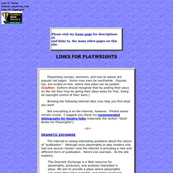 Playwriting Links on the Internet