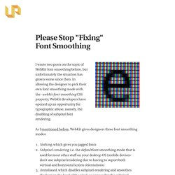 """Please Stop """"Fixing"""" Font Smoothing - The Usability Post"""