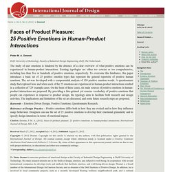 Faces of Product Pleasure: 25 Positive Emotions in Human-Product Interactions