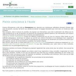 Pleine conscience à l'école - Emergences.org