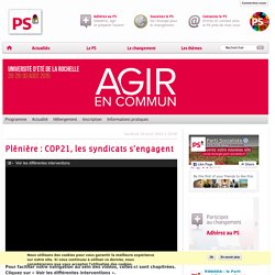 Plénière : COP21, les syndicats s'engagent