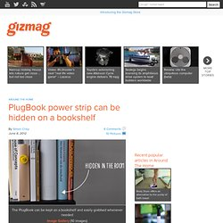 PlugBook power strip can be hidden on a bookshelf