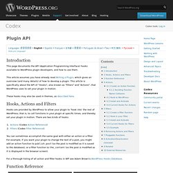 Plugin API ? WordPress Codex