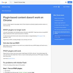 Plugin-based content doesn't work on Chrome - Chrome Help