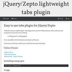 Easy to use tabs plugin for jQuery/Zepto