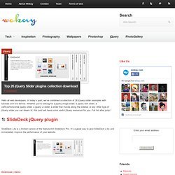 Top 26 jQuery Slider plugins collection download