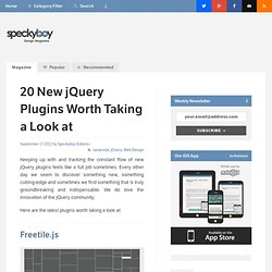 20 New jQuery Plugins Worth Taking a Look at