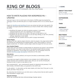 How to Write Plugins for Wordpress MU – updated | Ring Of Blogs