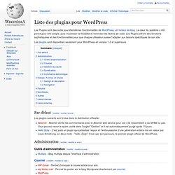 Liste des plugins pour WordPress
