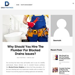 Why Should You Hire The Plumber For Blocked Drains Issues? - Daily Postings