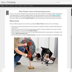 Eco 1 Plumbing: Miami Plumber means the best plumbing services