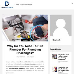 Why Do You Need To Hire Plumber For Plumbing Challenges? - Daily Postings