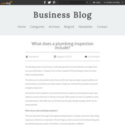 What does a plumbing inspection include? - Business Blog