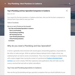 Top 5 Plumbing and Gas Specialist Companies in Canberra