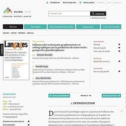 Influence des traitements graphomoteurs et orthographiques sur la production de textes écrits: perspective pluridisciplinaire