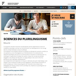 Sciences du plurilinguisme - Offre d'études - Université de Fribourg