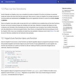 12. Plus sur les fonctions - Cours de Python