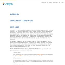 Integrity App Terms of Use