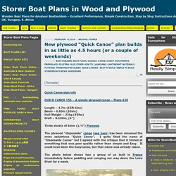 "New plywood ""Quick Canoe"" plan builds in as little as 4.5 hours (or a couple of weekends)"