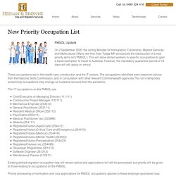 New Priority Occupation List