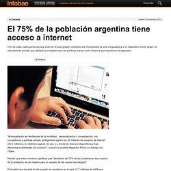 El 75% de la población argentina tiene acceso a internet