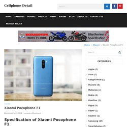 Xiaomi Pocophone F1 Featues, Specifications and Price in Nepal