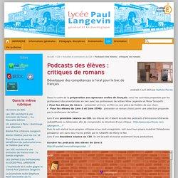 Podcasts des élèves : critiques de romans - Lycée Paul Langevin