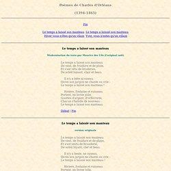 Poèmes de Charles d'Orléans - (1394-1465)