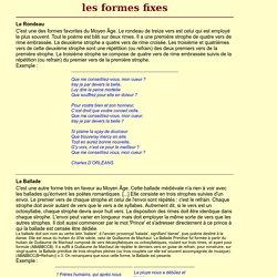 poèmes : formes fixes
