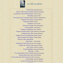 Poésie - La Ville en poésie