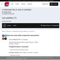 Les poètes (7) du 18 juin 2016 - France Inter