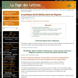 La poétique de Du Bellay dans les Regrets