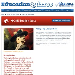 GCSE poetry, my last duchess - poem by robert browning