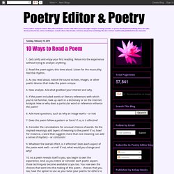 Poetry Editor & Poetry: 10 Ways to Read a Poem