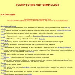 POETRY FORMS AND TERMINOLOGY