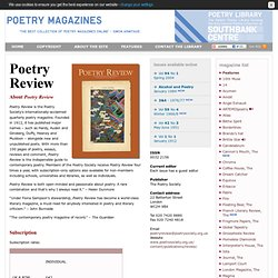 Poetry Magazines - Poetry Review